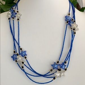 Blue star multi strand necklace